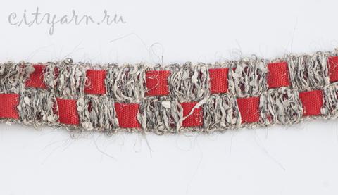 Тесьма французская с квадратами, цвет льняной с красным, B11130.02, цвет 1, ширина 2 см, цена указана за 50 см