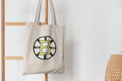 Сумка-шоппер с принтом Бостон Брюинз (NXL Boston Bruins) бежевая 008