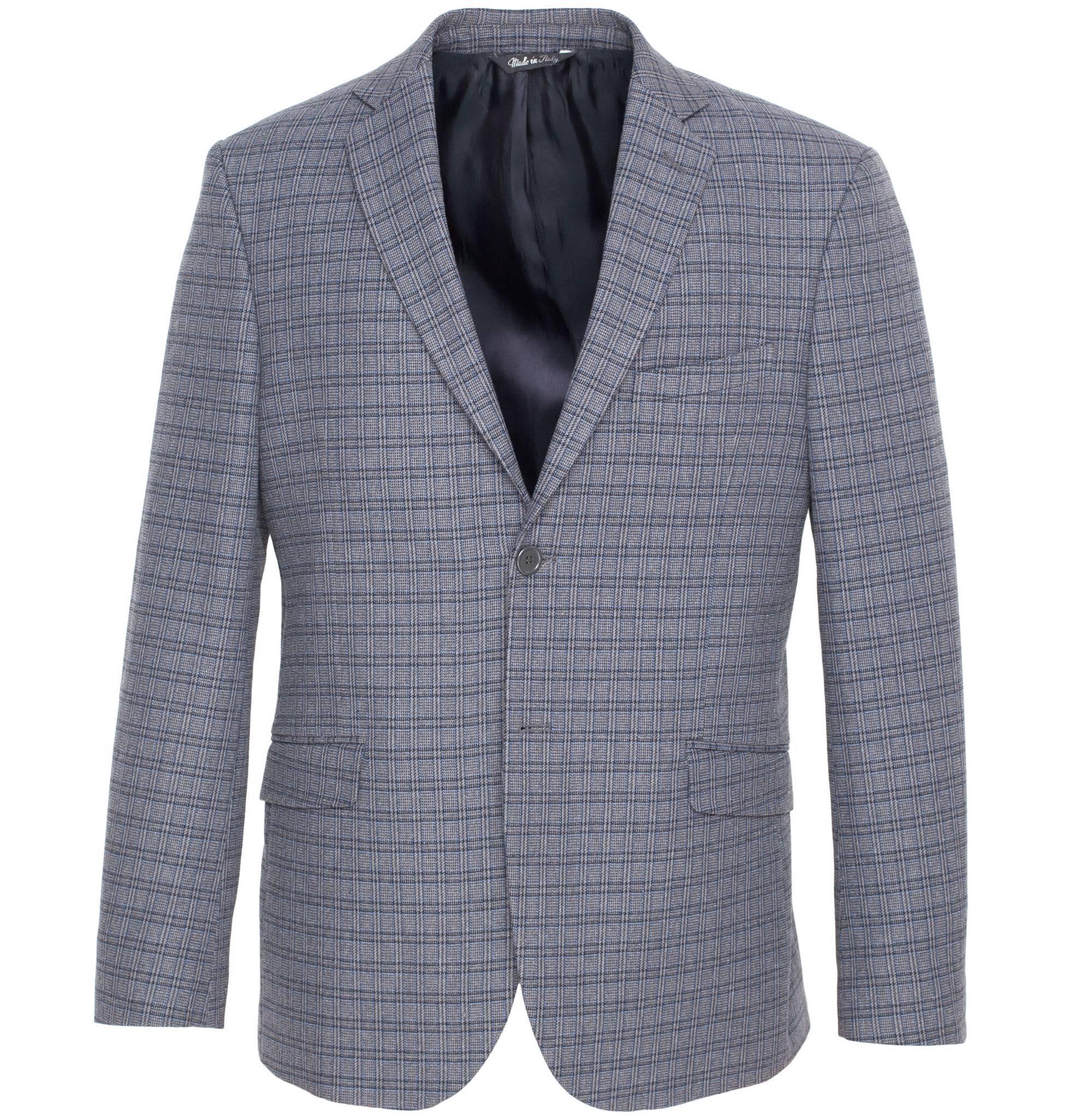 Сине-серый хлопковый пиджак в клетку