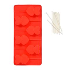 Форма из силикона для леденцов «Сердечки» 21х10х2 см