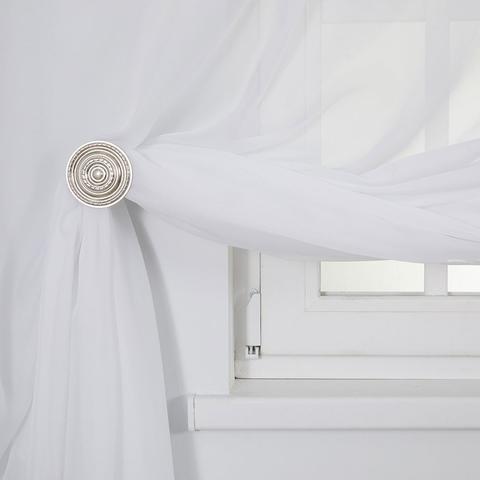 Тюль креп-шифон на шторной ленте. Белый холодный. оптом.
