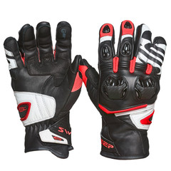 Мотоперчатки кожа Sweep Forza, чёрный/красный