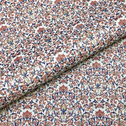Бумага декоративная подарочная Флорентийский узор кораллово-синий
