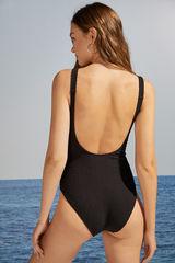 Чорний моделюючий купальник з трикутним вирізом