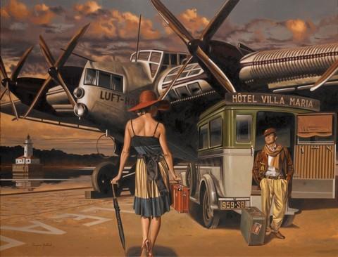 Картина раскраска по номерам 40x50 Отправление в путешествие