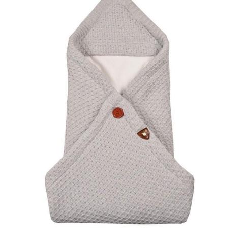 Вязаный конверт - плед  для новорожденного OSCAR серый