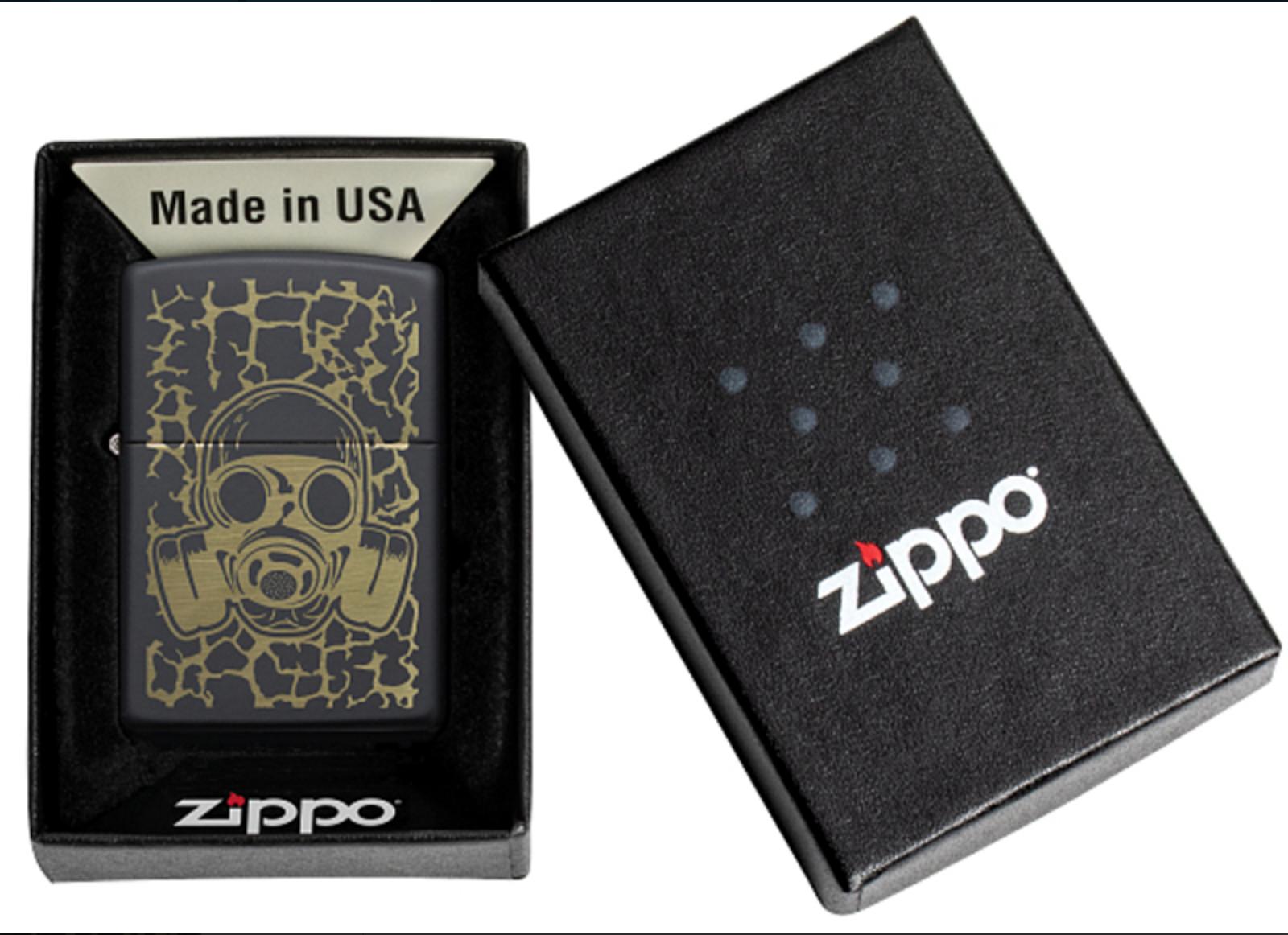 Зажигалка Zippo, цвет латунь/сталь, чёрная, матовая, 38х13х57 мм (Zippo Skull Gas Mask) | Wenger-Victorinox.Ru