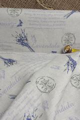 Льняная интерьерная ткань принт ЛАВАНДА