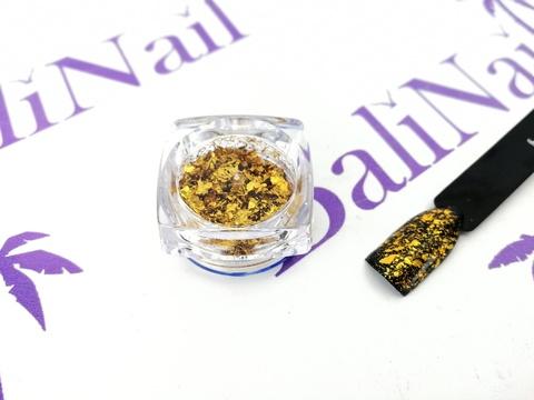 Фольга для дизайна ногтей голографическая золото