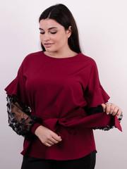 Карина. Жіноча блуза з рюшами великих розмірів. Бордо.