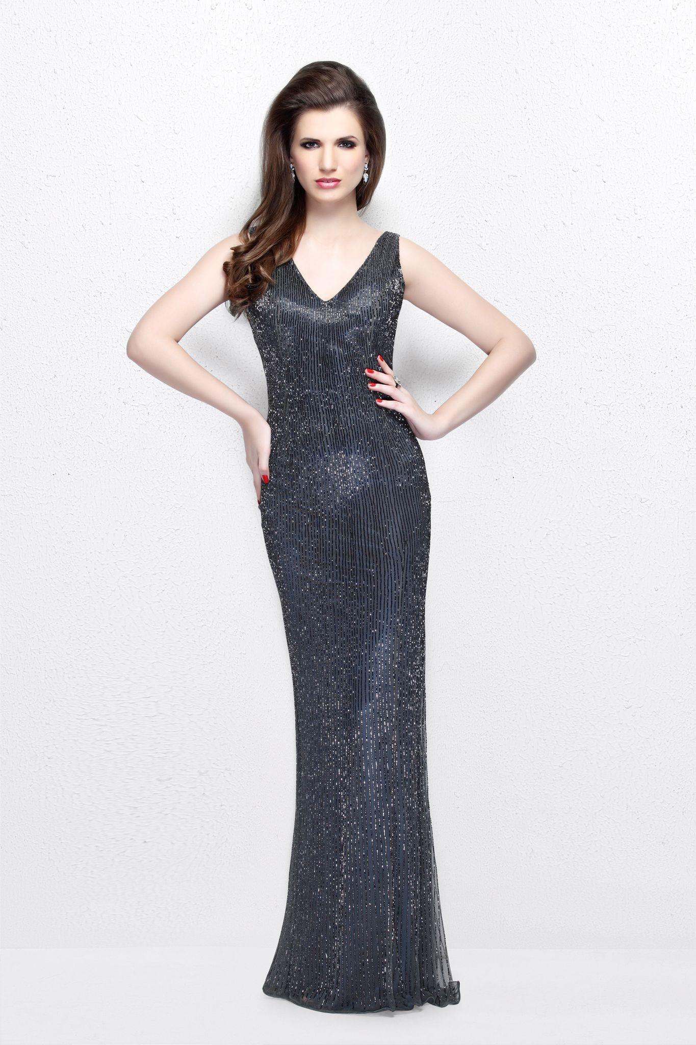 Mia 19508 платье в пол в цвете темное серебро  расшитое стразами по всей длине большой размер