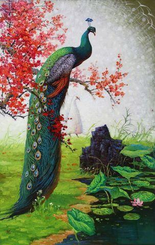 Алмазная Мозаика 40x50 Павлин на цветущей красной ветке (арт. ZX8298)