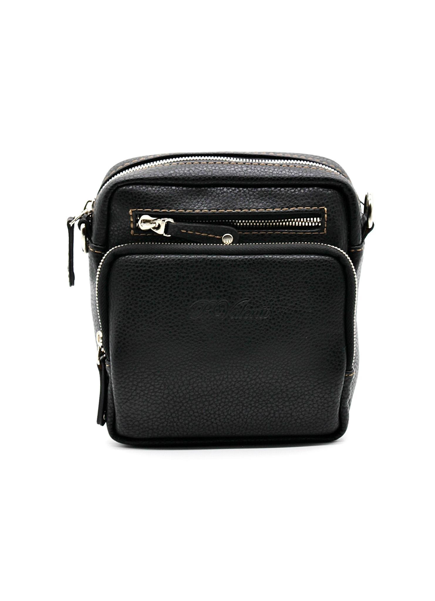 Фото мужская наплечная сумка чёрная маленькая 17х16х4 смиз искусственной кожи Paulo Valenti TK-A21