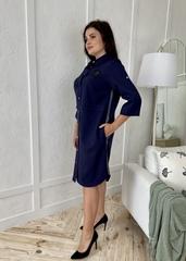Дарина. Стильна сукня-сорочка плюс сайз. Синій