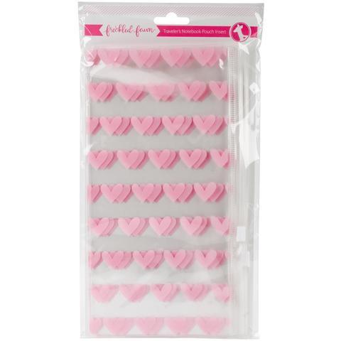 Внутренний конверт на  zip-застежке- Freckled Fawn Printed Clear Plastic Double Pouch- Pink Heart