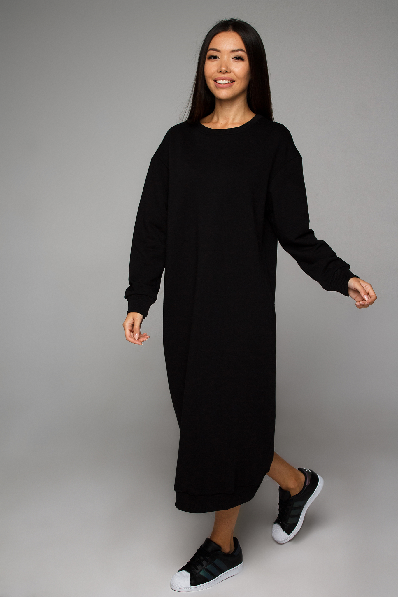 Платье-свитшот черное YOS от украинского бренда Your Own Style