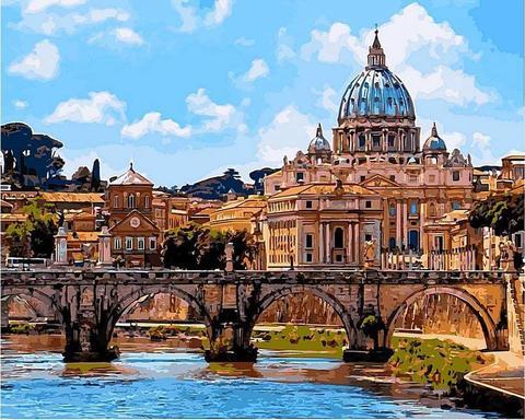 Картина раскраска по номерам 40x50 Мост Ангелов в Риме  (арт. RSB8313)