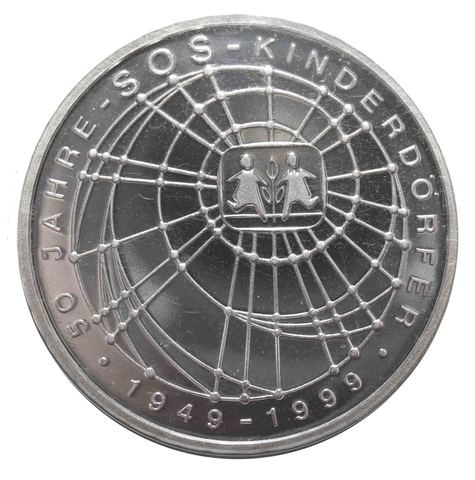 10 марок. 50 лет благотворительной организации по поддержке детей сирот (А). Серебро. 1999 г. PROOF