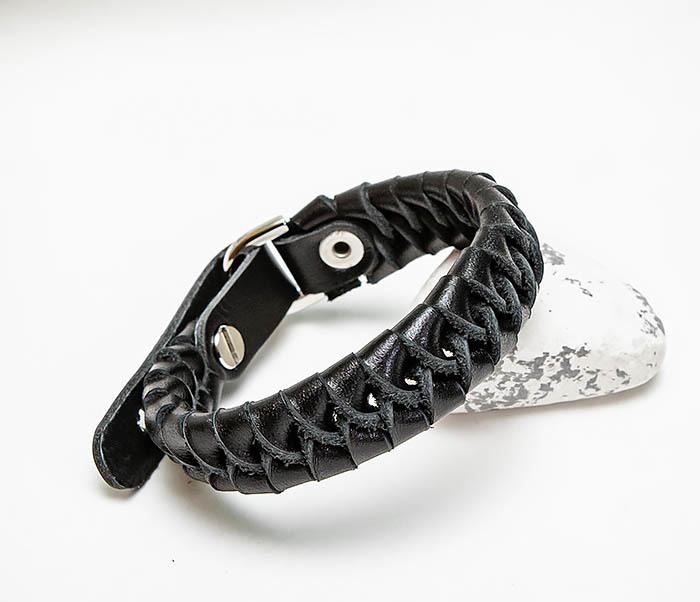 BL807-1 Плетеный браслет ручной работы из натуральной кожи фото 06