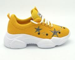 Желтые текстильные кроссовки на высокой платформе
