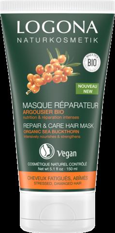 LOGONA Маска для интенсивного восстановления волос с био-облепихой, 150 мл