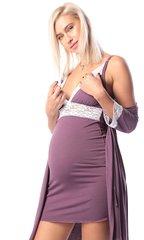 Евромама. Комплект халат и сорочка с кружевом из вискозы, лиловый вид 6