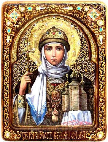 Инкрустированная живописная икона Святая Равноапостольная княгиня Ольга 29х21см на натуральном кипарисе в подарочной коробке