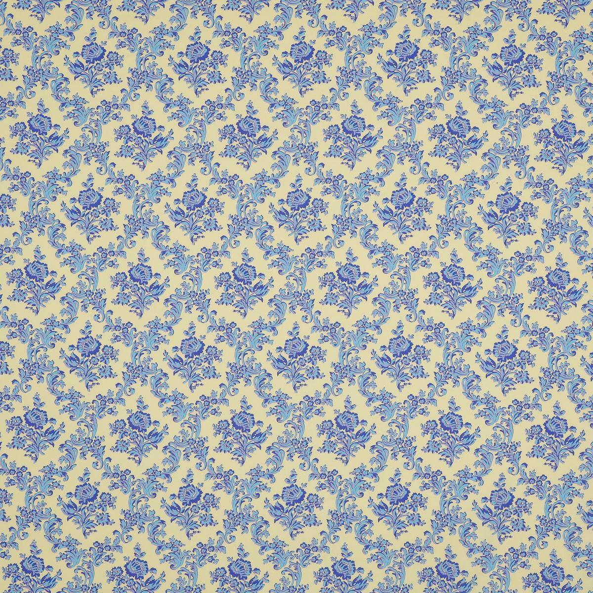 Легкий батист нежно желтого цвета с голубым цветочным узором