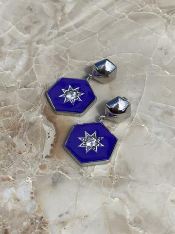 Серьги Сириус из серебра с темно-синей эмалью