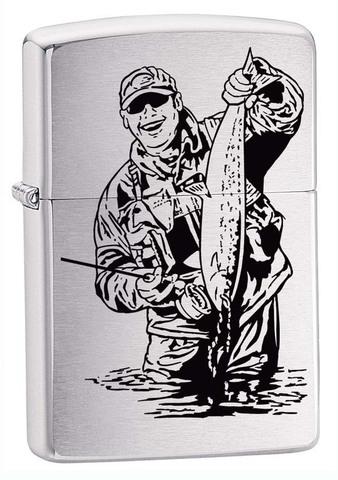 Зажигалка Zippo Рыбак, латунь с покрытием Brushed Chrome, серебристая, матовая, 36x12x56 мм