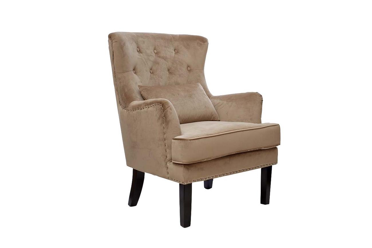 Кресло велюровое бежевое (с подушкой) (24YJ-7004-06413/1) Garda Decor