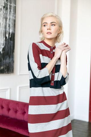 Фото платье из хлопка с застежкой на планке и рукавами 3/4 - Платье З476-031 (1)