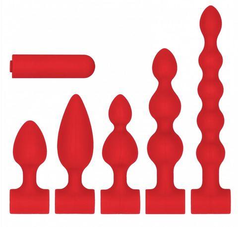 Красный анальный вибронабор USB-Rechargeable Anal Set