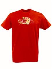Футболка с принтом Цветы (Пионы) красная 002