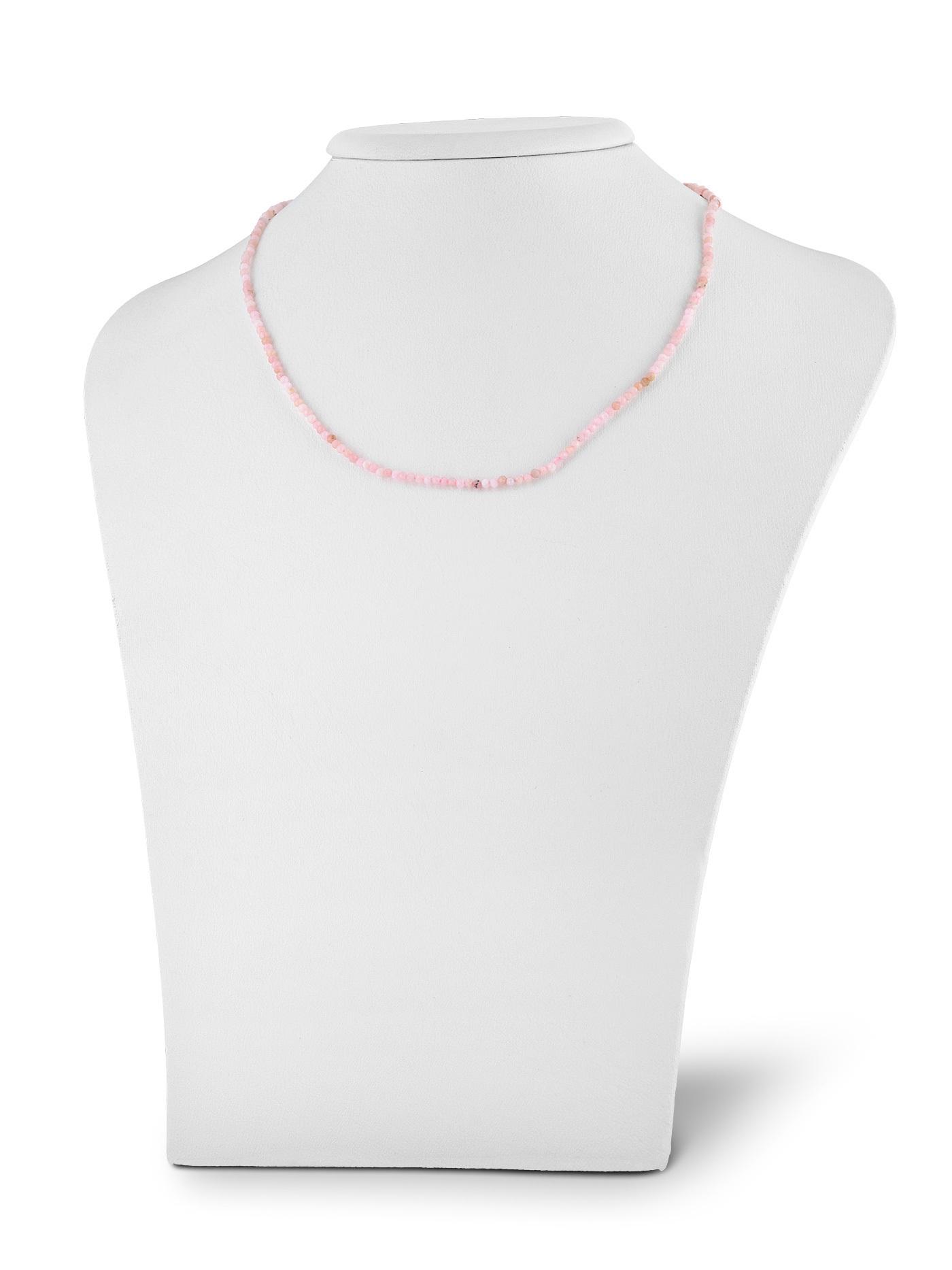 Серебряный чокер с розовым опалом