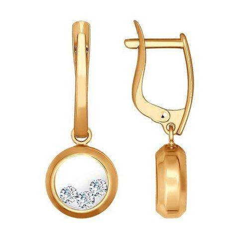 027536 - Серьги из золота с минеральным стеклом и фианитами