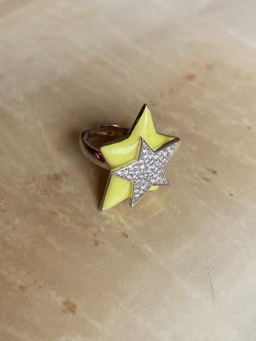 Кольцо Звезда желтое, серебро