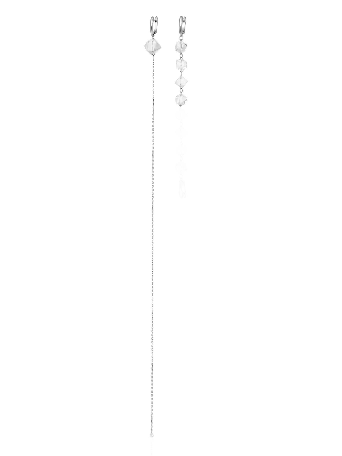 Асимметричные серьги с горным хрусталем