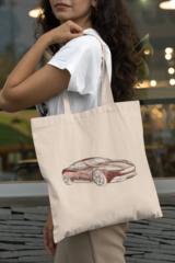 Женская сумка-шоппер с принтом Астон Мартин (Aston Martin) бежевая 003