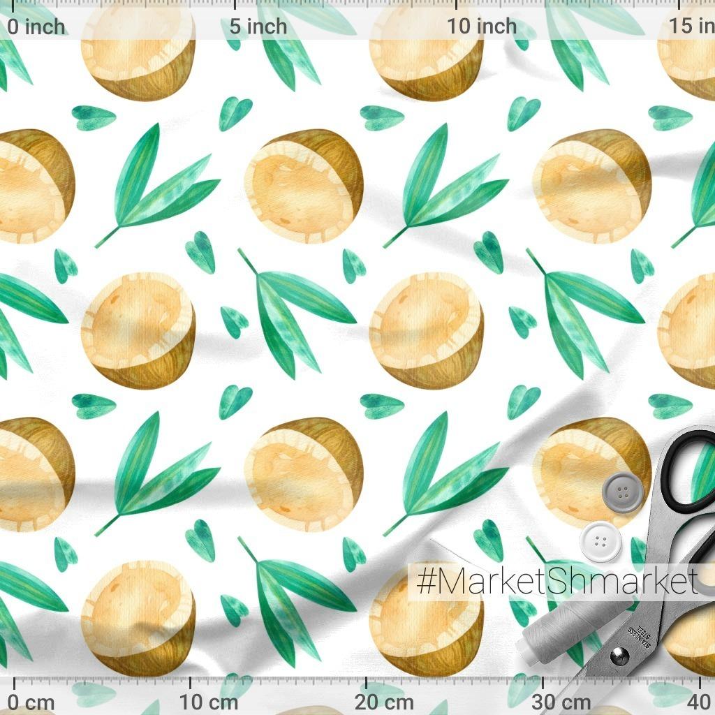 Кокосы и зеленые листья. Летний тропический принт. Акварельный паттерн