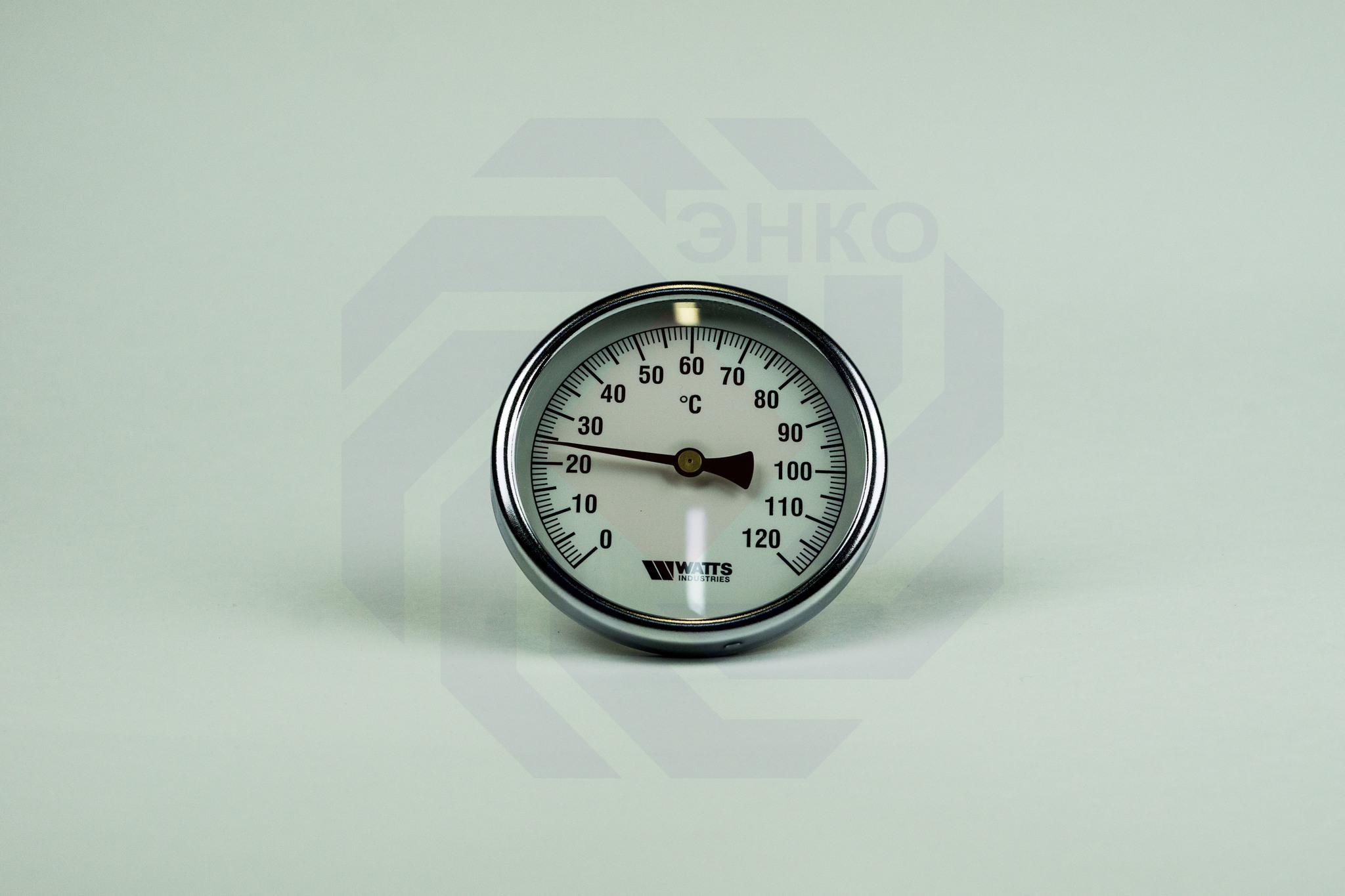 Термометр биметаллический аксиальный WATTS F+R801 SD 0-120 °С 100 мм ½