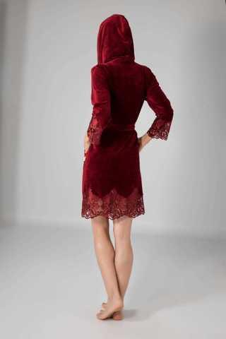 Халат женский велюровый с кружевом 0415 бордовый  NUSA Турция