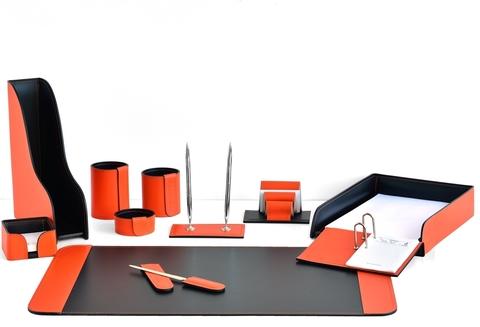 Настольный набор 11 предметов из кожи цвет оранж/шоколад