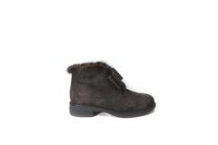 Коричневые ботинки из натурального велюра с отделкой из норки