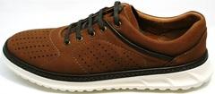 Летние мужские кроссовки  натуральная кожа Vitto Men Shoes 1830 Brown White