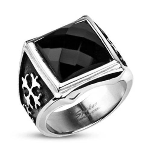 Солидный перстень печатка классический мужской из ювелирной стали с чёрным ониксом SPIKES R-H3567