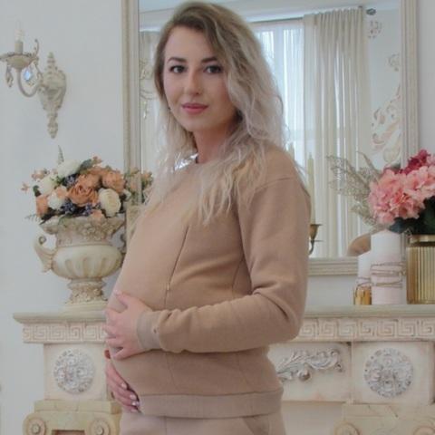 Свитшот для беременных и кормящих на флисе цвет бежевый