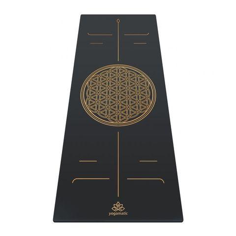 Каучуковый коврик для йоги Art Flower of life Grey Gold 185*68*0,4 см