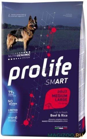 Сухой корм PROLIFE SMART ADULT MEDIUM/LARGE BEEF & RICE для взрослых собак средних и крупных пород с говядиной и рисом, 12 кг.