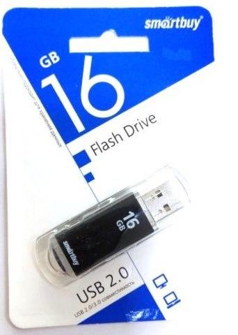 Флеш-накопитель USB  16GB  Smart Buy  V-Cut  чёрный